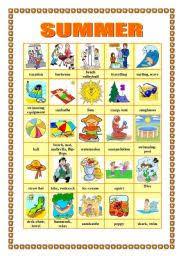 Summer Word List Summer Pictionary Esl Worksheet By Veronika74