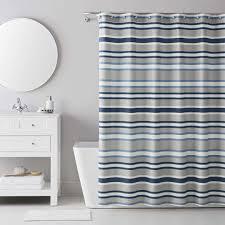izod bradley stripe grey blue shower curtain with 12 piece metal roller hook set