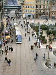 Share Space Tram And Pedestrians Share Space In Strasbourg France