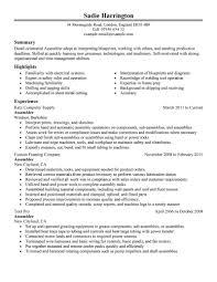 Assembly Resume Skills Line Objective Worker Machine Operator Sample