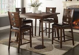 get ations 1perfectchoice 5 pcs counter height dining set square table dark brown pu chair dark walnut