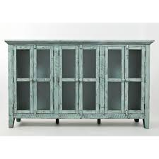 rustic ss surfside 70 accent cabinet in distressed vintage blue w glass doors