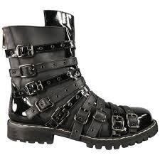 men s gareth pugh size 10 black leather patent strappy belt combat boots