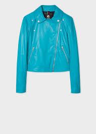 front view women s turquoise leather asymmetric zip biker jacket
