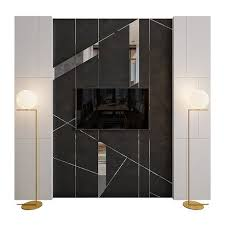 wall panel stone and mirror 3d model