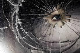 mirror of the crack sharp edge drops eye .