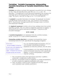 worksheet translate algebraic expressions variables variable expressions interpreting directions