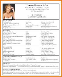 Musical Theatre Resume Template Musical Theater Resume Template