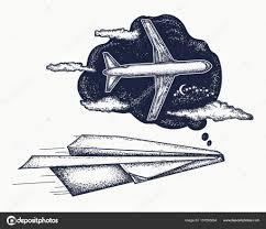 Ve Snu Tetování A Tričko Design Papírové Letadlo Snů Stock Vektor