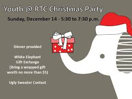 white elephant christmas. Fine White ChristmasParty 12142014 This Yearu0027s Youth Group Christmas Party Will  Include A White Elephant  On L
