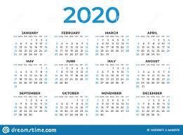 Calendar 2020 Template Layout Blue Concept Business