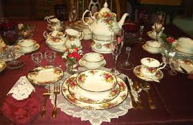Indonesian Table Setting Relevant Tea Leaf Royal Albert China Old Country Roses