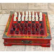 antique vintage wooden style chess board table set pieces gift box
