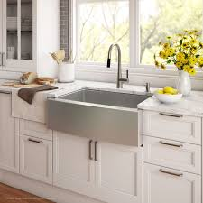Kitchen Farm Sink Faucet Black Stainless Steel Apron Sink