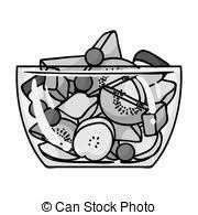 fruit salad clipart black and white.  And Fruit Salad Icon In Monochrome Style Isolated On White Background Sport  And Fitness Symbol Stock With Salad Clipart Black And White A