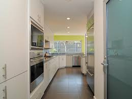 contemporary galley kitchen with bright accent wall
