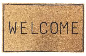 VINYL BACKED WELCOME COCO DOORMAT WITH BORDER | Coco Mats N' More