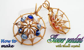 flower pendant with small crystal herringbone wire wrap bead 390