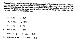 writing and balancing chemical equations worksheet