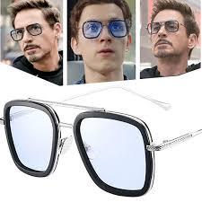 47758 Sunglasses Classic <b>Fashion Square</b> Frame <b>Iron Man</b> Retro ...