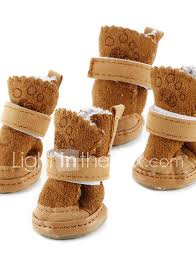 dog boots shoes snow boots keep warm fashion solid colored for pets cotton brown