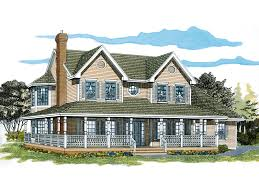 farmhouse with wrap around porch painted creek country farmhouse plan 062d 0309 house planore