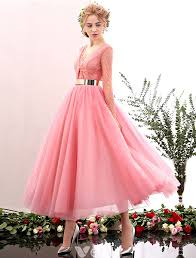 2016 <b>Beautiful</b> Deep V-neck <b>Lace</b> Ruffle Backless <b>Pink Tulle</b> Prom ...