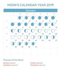 Moon Calendar 2019 January Calendar June Moon Phase