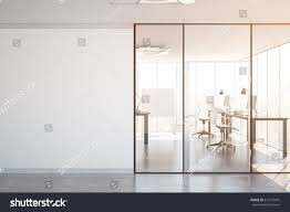 interior glass office doors. Contemporary Simple Office Interior With Glass Doors, Blank Wall Copy Space, City View Doors E