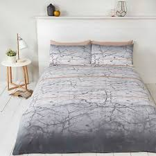 marble grey and white double duvet