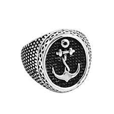 for clic anchor signet biker ring snless steel jewelry punk motor biker skull men ring whole