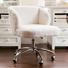 ivory sherpa faux fur wingback desk chair