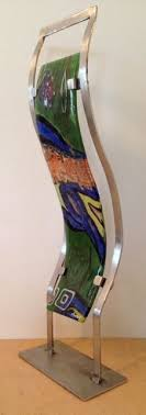Fused Glass Display Stands Fused glass and metal pigments Stainless steel base Display 86