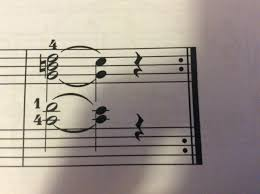 So, the bottom notes in each stave are held over, the b and d on top converge to c, and the f at the bottom drops to e. Slur Or Tie When They Are Mixed Music Practice Theory Stack Exchange