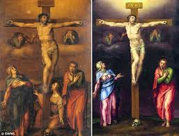uncanny an image of a painting of the crucifixion of christ by michelangelo left