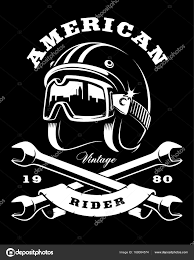 ilration of cafe racer helmet with goggles text is on tte separate layer version on dark background vector by kasyanov creation