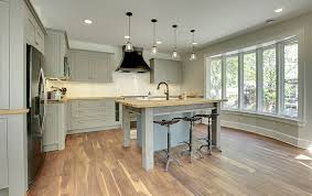 wood kitchen countertops with hardwood flooring and light gray cabinetry