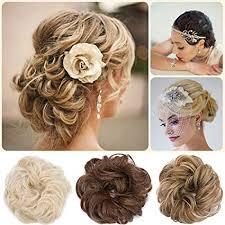 Postiche Extensions A Clip Cheveux Naturel Scrunchy Chignons Volumineux Bouclés Ou Chignon Décoiffé Différentes Couleurs Blond De Blanchiment