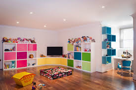 ... Nice Wall Cupboard Play Rooms For Kids Pink Animal Doll Floor Wooden  Bed Black Tv ...