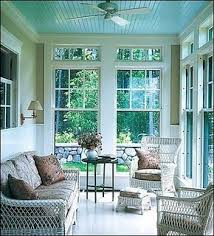 painted ceiling, love the sun porch.