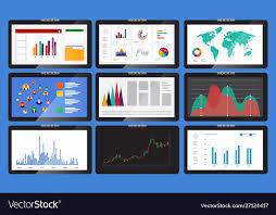 Various Graphs And Charts Various Monitors Display Graphs And Charts In