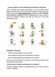 Career Guidance List Of Hobbies And Interests For Resumes By