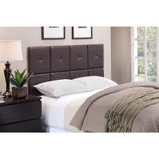 espresso faux leather upholstered tufted back full queen bed headboard back