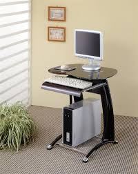 computer desk small. simple computer desk ideas for small spaces with glossy dark top and unique leg on grey a