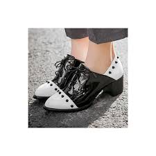 black and white patent leather vintage shoes women s brogues image