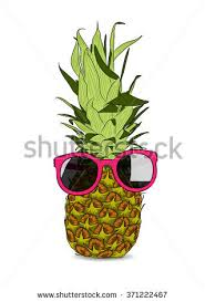 pineapple with sunglasses clipart. vector illustration of hand-drawn pineapple wearing sunglasses. eps with sunglasses clipart r