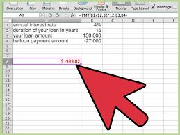 Baloon Payment Calculator How To Calculate A Balloon Payment In Excel With Pictures