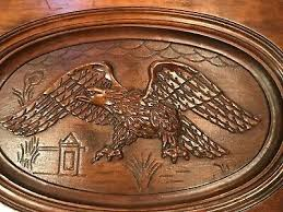 antique hand carved wood eagle coffee