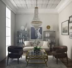 Art Deco Living Room with Hardwood floors, Louis Sofa in White Linen, Ring  Chair