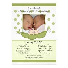 twin birth announcements photo cards sweet little pea twins photo announcement card baby twins birth